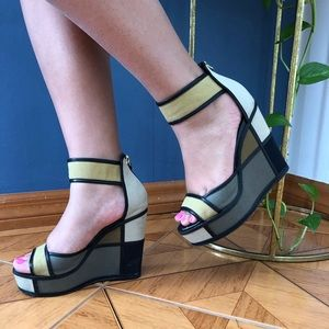 PIERRE HARDY COLOR-BLOCK WEDGES
